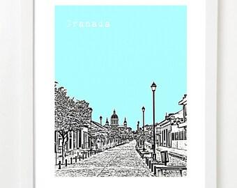 Granada Nicaragua Art Print - Granada Nicaragua  Skyline Poster - Nicaragua Travel Art