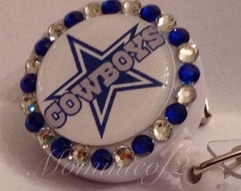 Retractable Badge Holder - Inspired Dallas Cowboys- Badge Reel Clips - Nurse Badge-Surgical Tech - ID Badges -
