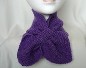 Hand-Knitted Short Scarf / Neck Warmer - Bow Tie Style (ASCOT) - LILAC with LILAC Lurex  fleck