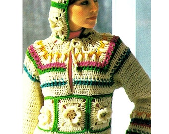 "Vintage 70s Crochet ""Hoodie"" Hooded Pullover Sweater - PDF Pattern - Digital Pattern"