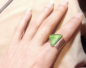 Emerald Ring Genuine green Sea glass and solid copper Adjustable ring