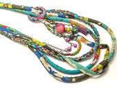 Blue Multi Strand Necklace - Textile layered necklace - Ethnic Hippie Jewelry - gift idea