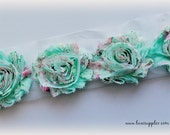 Mint and Pink Floral Printed Shabby Chiffon Flower Trim - Your choice of 1 yard or 1/2 yard - Chiffon Shabby Rose Trim - Mint and Pink