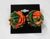 Orange and Green Rose Earrings