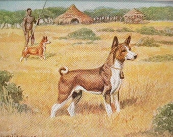 BASENJI DOG Vintage Mounted 1958 Edwin Megargee dog plate print Unique Thank you, Congratulations, Birthday Christmas Thanksgiving gift