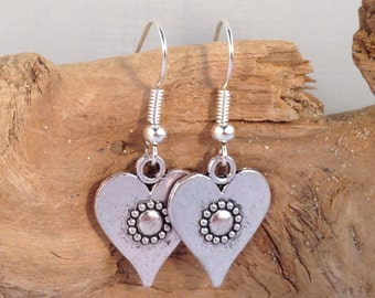 HEART EARRINGS Tibetan Style Silver Tone Charms on Nickelfree Hooks