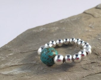 TURQUOISE STRETCH RING - Silver Bead Ring - Bead Ring - Turquoise Ring - Stretch Ring - Beaded Ring - Stretchy Stone Ring