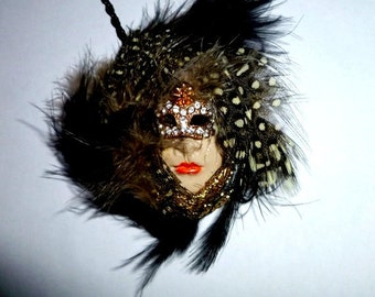 Carnivale. Feather mask. Polymer clay face necklace