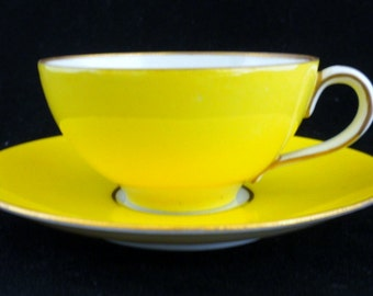 Dresden Yellow and Gold Tea Cup and Saucer, Small Tea Cup