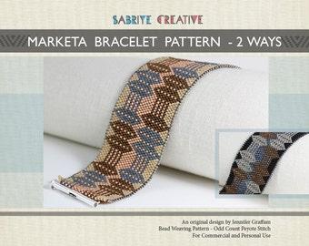 Peyote Bracelet Pattern - MARKETA Bracelet in Two Color Ways - Digital Download