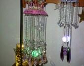 Vintage Brass Decorative Bird Cage-Dark Pink - crystals and diorama- cherubs-flowers-artist decorated - artist signed