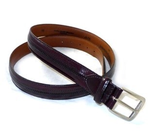 Western style vintage aniline brown leather belt with embedded braid - brass fittings - L M Johnston and Murphy