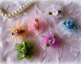 Organza Ribbon Flower With Pearl Applique, Multi - Color, x 6, For Heirloom, Reborn, Dolls, Accessories, Home Decor, Victorian Crafts