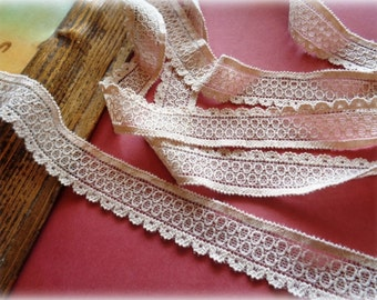 Stretch Narrow Lace Trim, Taupe, 7/8 inch wide, 1 yard, For Apparel, Accessories, Scrapbook, Home Decor, Victorian & Romantic Crafts