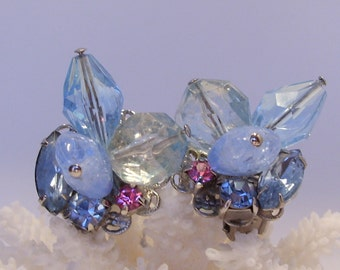 Blue Bead and Rhinestone Clip Earrings with a Hint of Pink