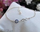 Infinity Bracelet With Blue Zircon Pave Evil Eye, Sterling Silver, Minimalist, Best Friend Gift, Good Luck Jewelry, Valentine's Day Gift