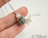 Labradorite and Moonstone Pendant Necklace, Sterling Silver, Delicate, Gemstone Jewelry, Gift for Her, June Birthstone
