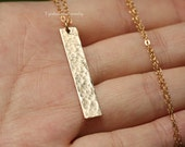 Gold Hammered Bar layered necklace,Long layered delicate necklace,Bar necklace,Hammered Triangle Necklace,