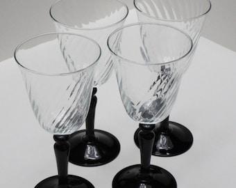 French Optic Swirl Onyx Wine Glasses - Set of Four