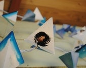 Paper Pyramid Lanterns - CHEMTRAILS - modern geometric garland in sky, cornflower, denim, and white with red dots