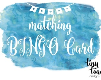 BINGO Game Card to match any item by tiny toad designs for baby shower, bridal shower, DIY Printable, digital file