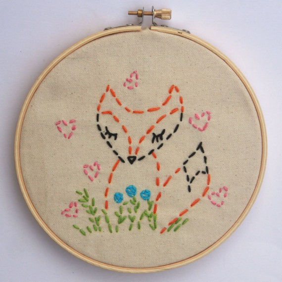 Embroidery kit little fox beginner sewing by