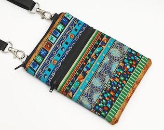 Travel Bag, Cell Phone Case Crossbody, Sling Pouch, Galaxy Purse, iPhone 6,5 Zipper Shoulder Bag  - blue green gold bohemian stripes