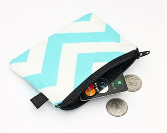 Coin purse, blue zipper pouch, padded change wallet - aqua blue and white chevron stripes