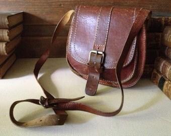 Vintage Artisan ~ Rustic Brown Leather Saddle Bag ~ Small Crossbody Messenger