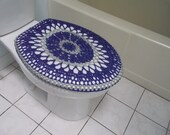 Crochet Toilet Seat Cover or Crochet Toilet Tank Lid Cover - eggplant/light grey (TSC7D or TTL7D)