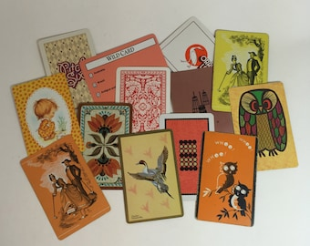 13 SWAP cards / Vintage Orange Playing Cards Mixed Ephemera for Collage, Altered Art, Scrapbooking, Journals