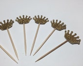 24 Gold Glittered Crown Cupcake Toppers/Food Picks/Toothpicks/Party Supplies No. 237