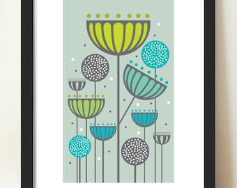 Home Décor, Abstract Floral, Seedheads and alliums, natural colours, retro Eames era, mid-century modern, Floral  giclee art print