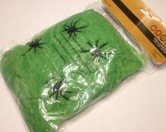 Large bag of green spider web and spiders Halloween Decor (R3)