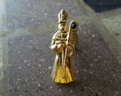 Vintage Bishop Pin, Gold Tone with Green Rhinestone, Beautiful Condition.