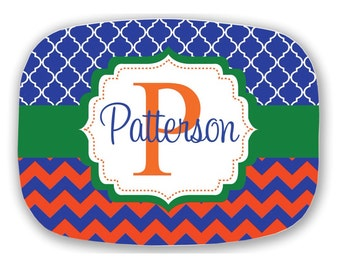 Design Your Own Personalized Melamine Platter, Monogrammed Platter, Tailgate, Wedding Gift,  Housewarming Gift, Florida Gators, Orange Blue