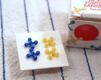 Avon Jacks Funtime Earrings - Two Pair Blue and Yellow - Vintage 1987