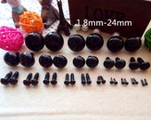 Samples Safety Teddy Bear Black Eyes With Plastic Washers 5mm/6mm/7mm/8mm/9mm/10mm/12mm
