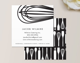 Watercolor square business card one sided calling card baker or catering chef square business card calling card mommy card contact card reheart