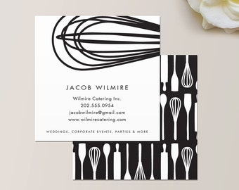 Watercolor square business card one sided calling card baker or catering chef square business card calling card mommy card contact card reheart Image collections