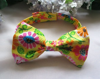 Girl Dog Bow , Dog Bow Tie , Size Small, Yellow floral
