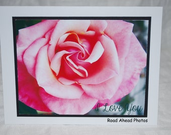photo card, pink rose, I Love You
