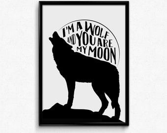 Original Illustration - Wolf Moon Typography Art Print