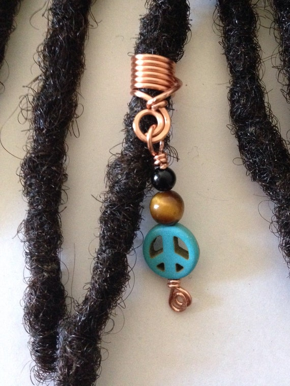 Onyx Tiger Eye Turquoise Peace Sign Hair Bead Dread Locs Dreadlock Jewelry Natural Hair Gift