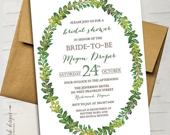 Woodland Greenery Bridal Shower Invitation || Printable Invitation