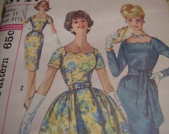 Vintage 1960's Simplicity 3717 Dress with Detachable Overskirt and Belts Sewing Pattern, Size 11, Bust 31 1/2