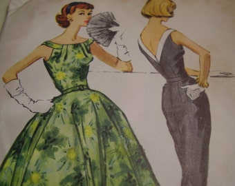 Vintage 1950's McCall's 4417 Dress Sewing Pattern, Size 12, Bust 32