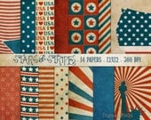 Stars&Stripes 4th of July digital scrapbooking paper pack-14 blue white red textured printable jpeg papers, 12x12, 300 dpi -instant download