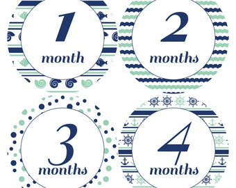 Printable Nautical Baby Stickers / Onesie Iron On / Monthly Cards