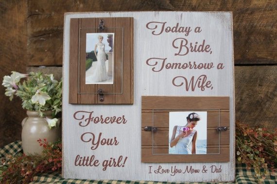 Wedding Gift For Dad And New Wife : ... Mom & Dad Rustic Wedding Sign and Frame Gift for Brides parents gift